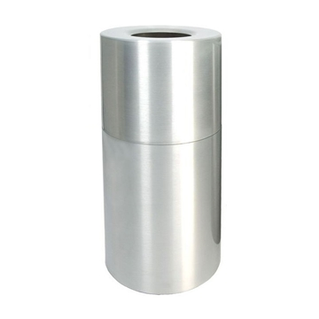 Picture of Trash Can Round 35 Gallon Aluminum with Flat Top, Portable