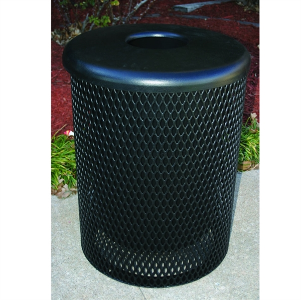 Picture of Standard Trash Receptacle 55 Gallon Plastic Coated Expanded Metal with Flat Top