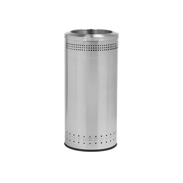 25 Gallon Stainless Steel Trash Can with Open Top Portable - Silver