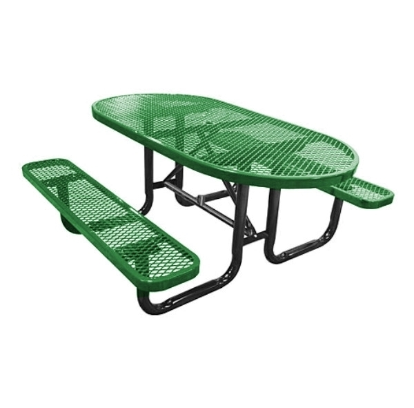 Picnic Table Oval 72 In. Plastic Coated Expanded Metal with Powder Coated Steel Tube