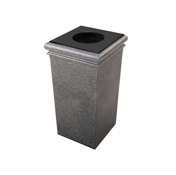 30 Gallon Polymer Concrete Trash Can Portable, 115 lbs.