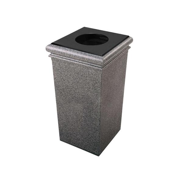 30 Gallon Polymer Concrete Trash Can Portable, 115 lbs.