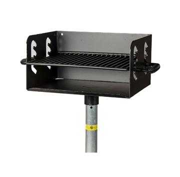 Park Grill 300 Square In. Welded Steel with 2 3/8 In. Pedestal, In-ground Mount
