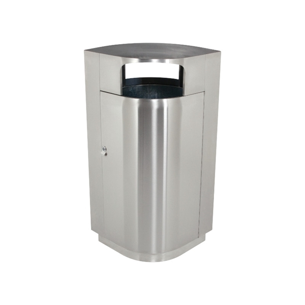 40 Gallon Stainless Steel Trash Can with Door, Portable 61 lbs.