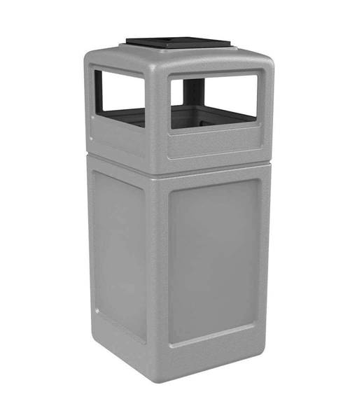 42 Gallon Square Receptacle with Dome Top Ash-tray Lid, Portable 25 Lbs.