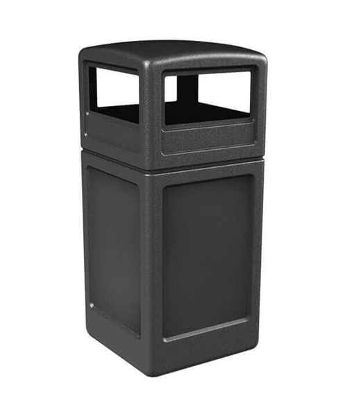 42 Gallon Square Receptacle with Dome Top - Black