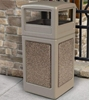 42 Gallon Stonetec Square Receptacle with Dome Top. Plastic with Stonetec Panel - Lifestyle