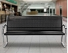 6 Ft. Black and Stainless Steel Bench with Back - Lifestyle