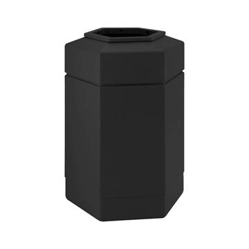 Trash Receptacle Hexagon 30 Gallon Plastic - Black