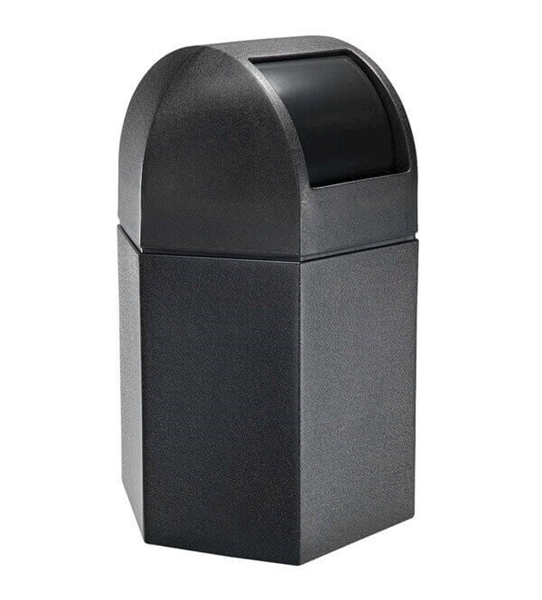 Trash Receptacle Hexagon 45 Gallon Plastic with Dome Top - Black