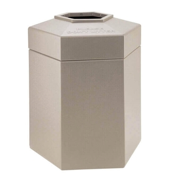 Trash Receptacle Hexagon 45 Gallon Plastic - Beige