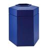 Trash Receptacle Hexagon 45 Gallon Plastic - Blue