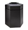 Trash Receptacle Hexagon 45 Gallon Plastic - Black