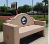 7 Ft. Memorial park benches with Logo concrete Park Bench Concrete Custom Logo, Portable