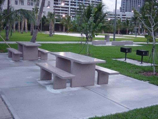 7 Ft Ada Concrete Rectangular Picnic Table With Detached Benches 2620 Lbs