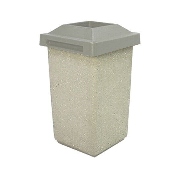 30 Gallon Concrete Trash Receptacle with Pitch-In Top, 280 Lbs.
