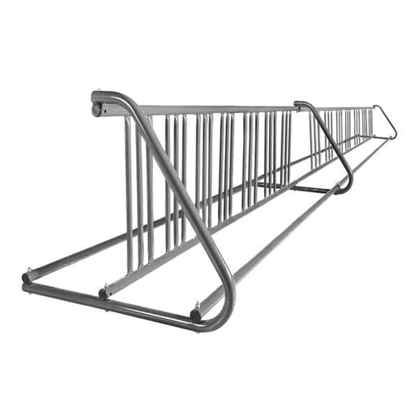28 Space 16 Ft. W Style Grid Bike Rack - Galvanized