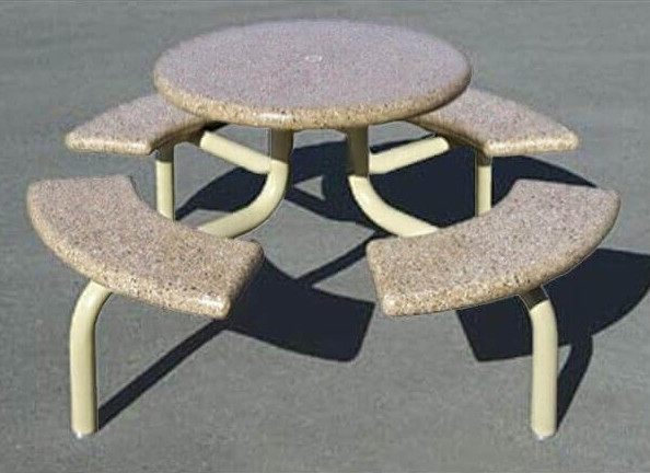 Pleasant 66 Round Concrete Picnic Table With Steel Frame 800 Lbs Onthecornerstone Fun Painted Chair Ideas Images Onthecornerstoneorg