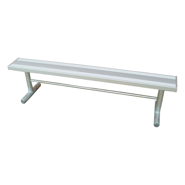 "15 Ft. Rectangular Backless Aluminum Bench with 2 3/8"" Galvanized Portable Frame"