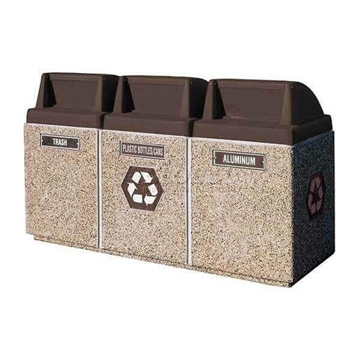 45 Gallon Three Container Recycling Center Trash Receptacle, 2150 Lbs.