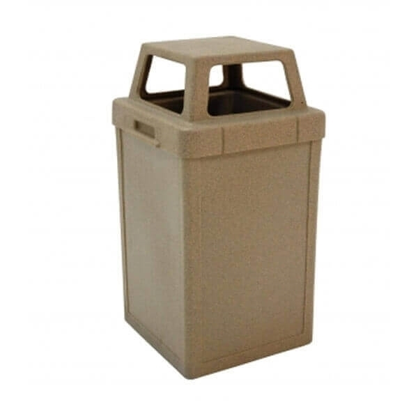 24 Gallon Square Plastic Trash Receptacle with 4-Way Open Top, 50 Lbs.
