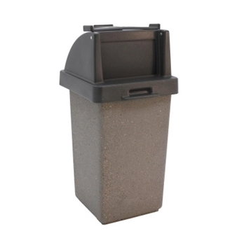 30 Gallon Concrete Trash Receptacle with Push Door Lid and Tray Holder, 280 Lbs.