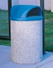 42 Gallon Concrete Trash Receptacle with Two-Way Dome Top, 700 Lbs.