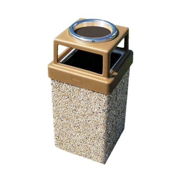 9 Gallon Concrete Trash Receptacle with Ash Top, 205 Lbs.