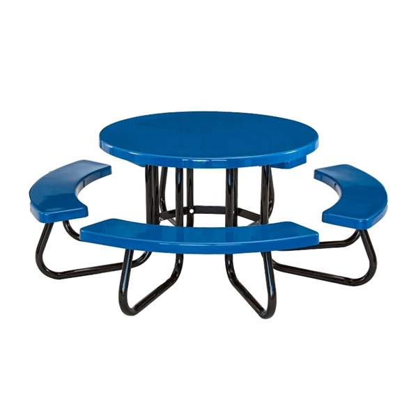 "48"" Round Fiberglass Picnic Table with Powder-Coated Portable Steel Frame, 205 lbs."