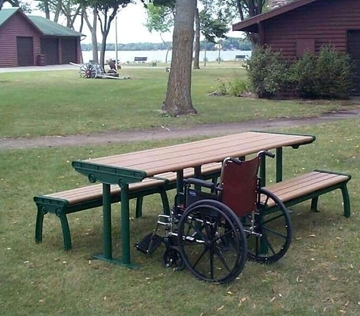 8 Ft. ADA Complaint Recycled Plastic Picnic Table with Cast Aluminum Frame