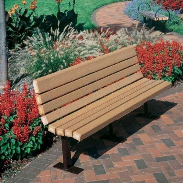 8 Ft. Contour Recycled Plastic Bench with Steel Frame, 444 Lbs.