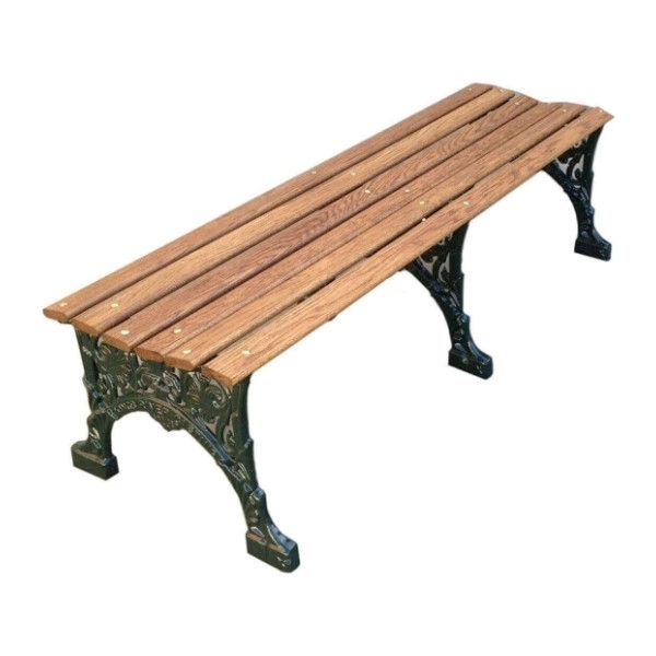 """48"""" Wooden Backless Bench with Cast Aluminum, 45 Lbs."""