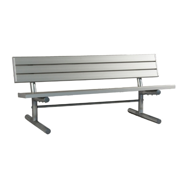 Aluminum Slatted Park Bench with Galvanized Steel Frame - 6 or 8 Ft.