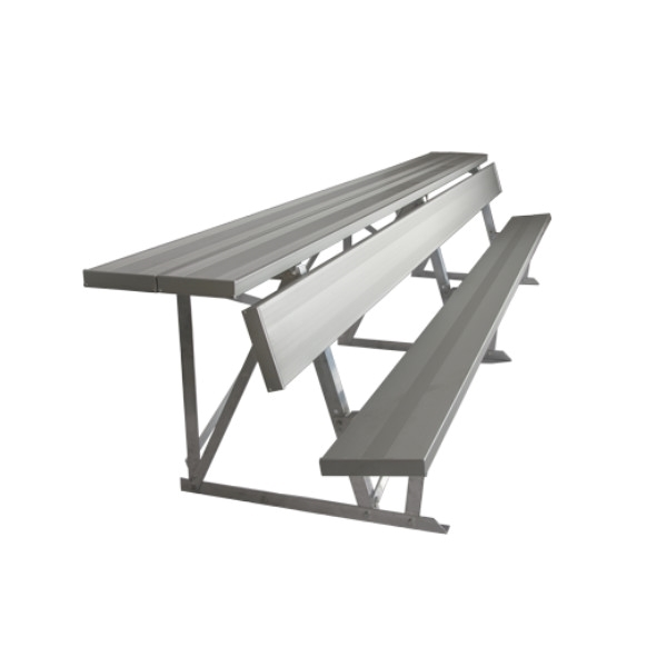 Portable Aluminum Double Shelf-Back Players Bench - 15 or 21 Ft.