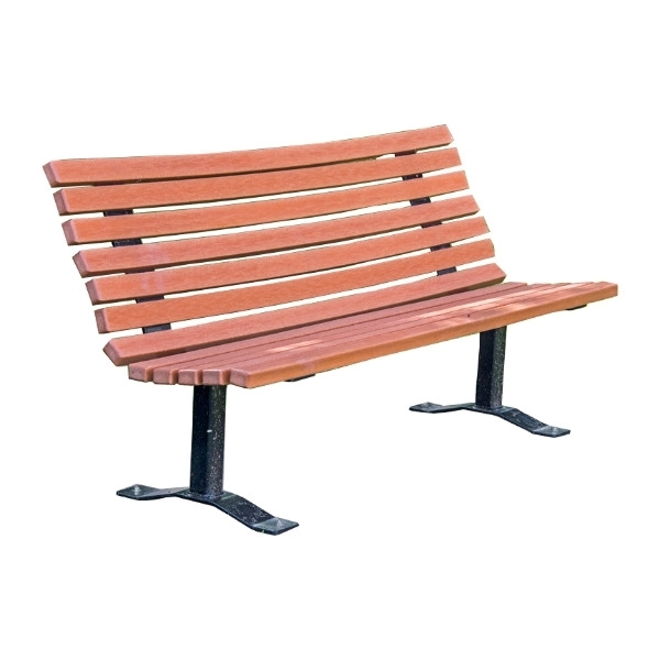 Recycled Plastic Contoured Park Bench with Steel Frame - 4 or 6 Ft.