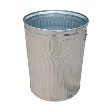 32 Gallon Galvanized Steel Trash Receptacle, 17 Lbs.