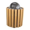 32 Gallon Slatted Recycled Plastic Trash Can, 102 Lbs.