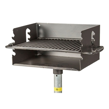 300 Square In. Flip Style Welded Steel Park Grill with 2-3/8 In. In-Ground Pedestal Mount