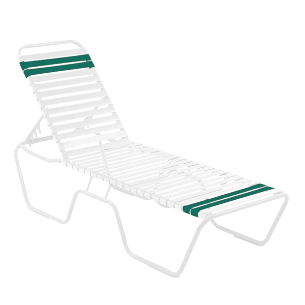 Quick Ship St. Maarten Chaise Lounge White Vinyl Straps with White Aluminum Frame