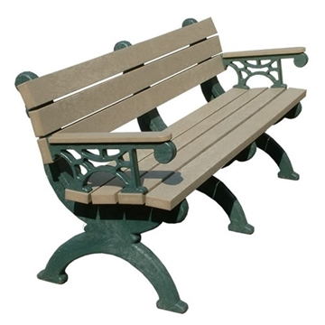 Monarque Recycled Plastic Bench with Back and Arms