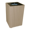 Tall 40 Gallon Recycled Plastic Square Trash Can with Lid