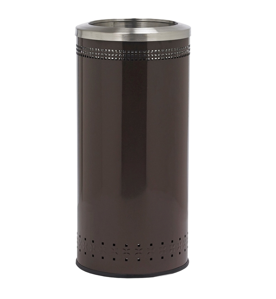 25 Gallon Powder Coated Steel Trash Can with Open Top Portable