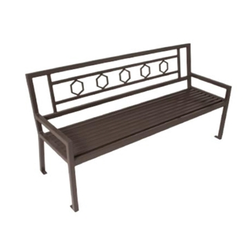 Biscayne Steel Bench with Back - 4 Ft., 6 Ft., or 8 Ft.