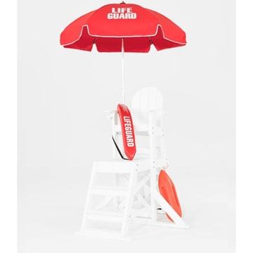 6.5 Ft. Printed Lifeguard, Steel Frame Umbrella with Aluminum Pole