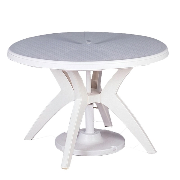 Ibiza 46 Inch Plastic Resin Round Dining Table Swimming Pool Decks And Outdoor Commercial Furniture