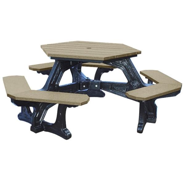 Plaza Recycled Plastic Hexagonal Picnic Table