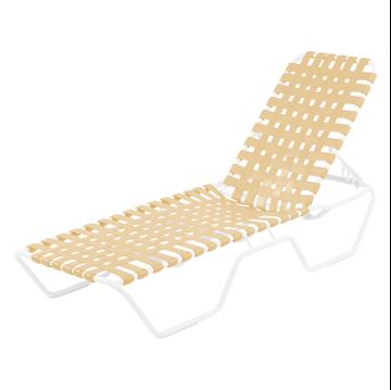 St. Maarten Cross Weave Vinyl Strap Chaise Lounge, Aluminum Frame
