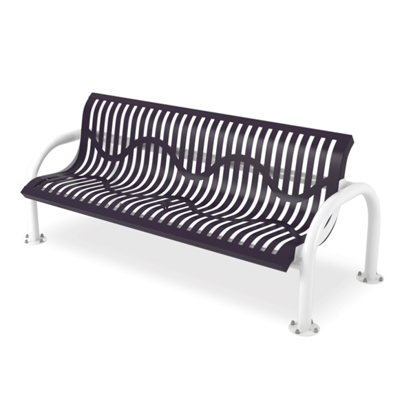 Bench With Back 6 foot Plastic Coated Ribbed Steel