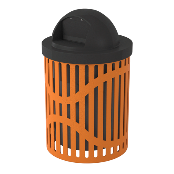 Classic Trash Receptacle 32 Gallon Plastic Coated Ribbed Steel Includes Liner and Dome Top
