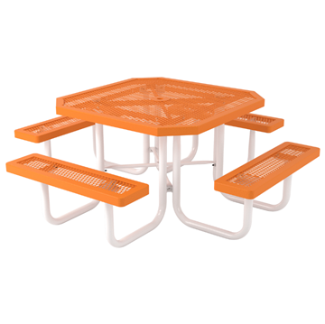 "Octagonal Picnic Table Regal Style with 46"" Attached Seats"